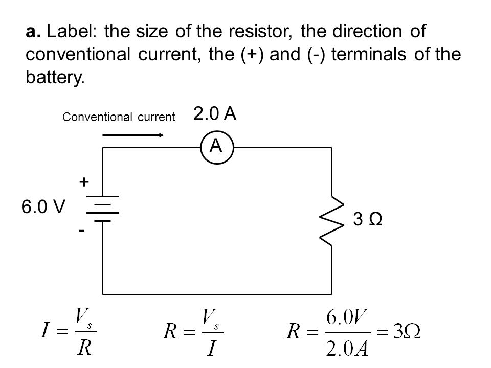 a. Label: the size of the resistor, the direction of conventional current, the (+) and (-) terminals of the battery.