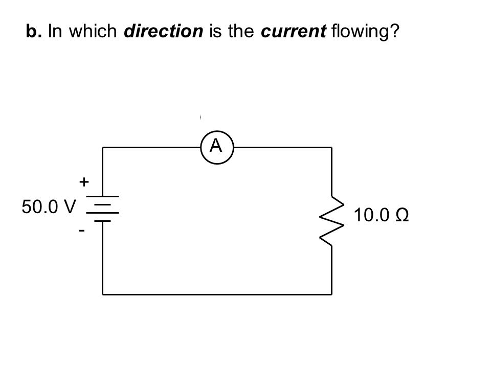b. In which direction is the current flowing