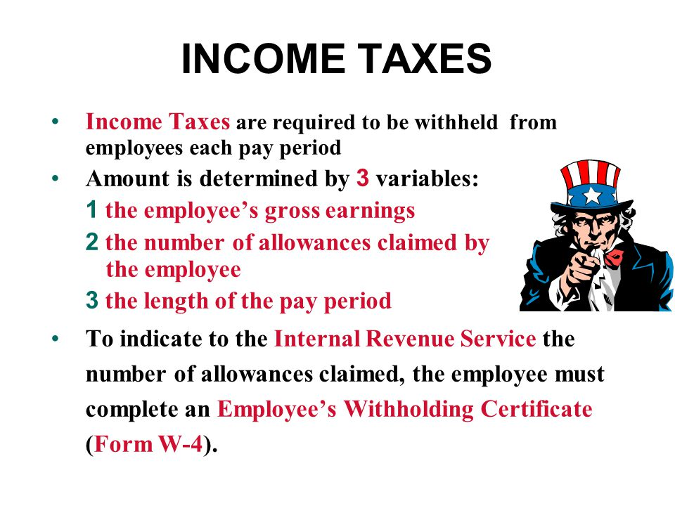 INCOME TAXES Income Taxes are required to be withheld from employees each pay period. Amount is determined by 3 variables:
