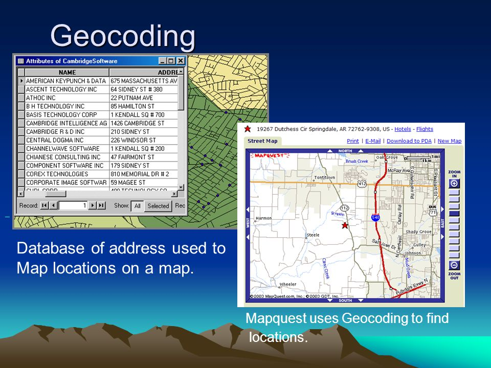 Geocoding Database of address used to Map locations on a map.