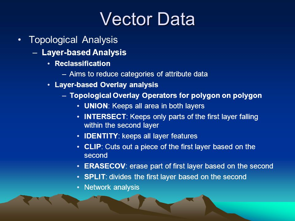 Vector Data Topological Analysis Layer-based Analysis Reclassification