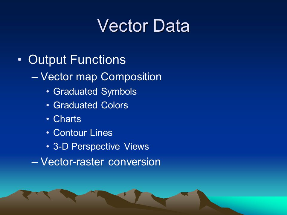 Vector Data Output Functions Vector map Composition