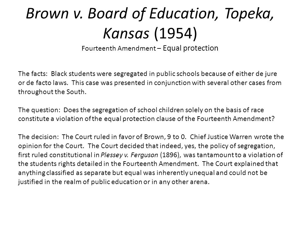 brown v board of education of topeka 1954 essay Brown v board of education of topeka, kansas, decided on may 17, 1954, was one of the most important cases in the history of the us supreme court linda brown had been denied admission to an elementary school in topeka because she was black.