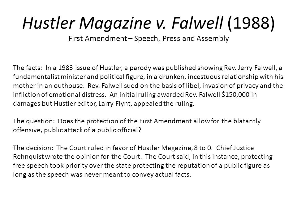 legal case hustler vs falwell Hustler v falwell was heard the hustler magnate recently referenced the case on twitter, and has described the contentious legal dispute as a battle that.