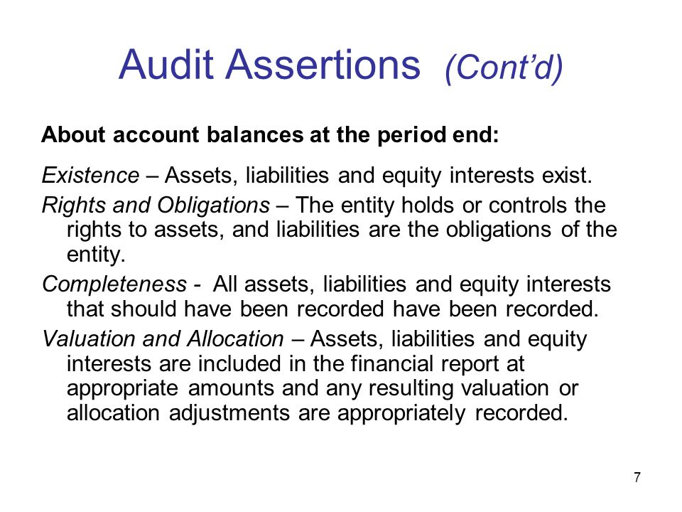 auditing assertions