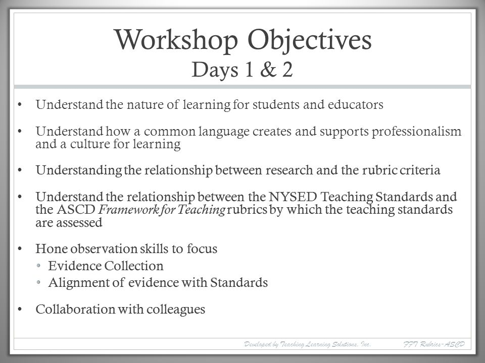 professional and common objectives
