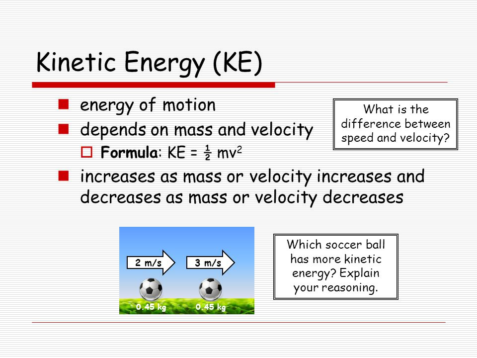 mass and potential energy relationship to velocity