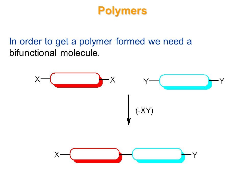 Polymers In order to get a polymer formed we need a bifunctional molecule.