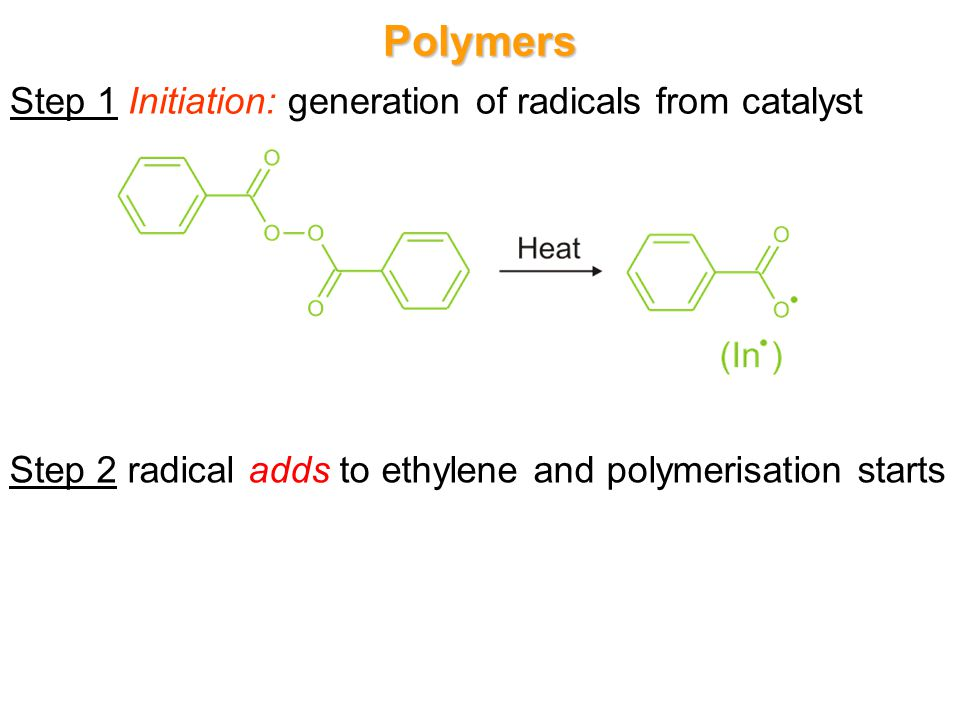 Polymers Step 1 Initiation: generation of radicals from catalyst