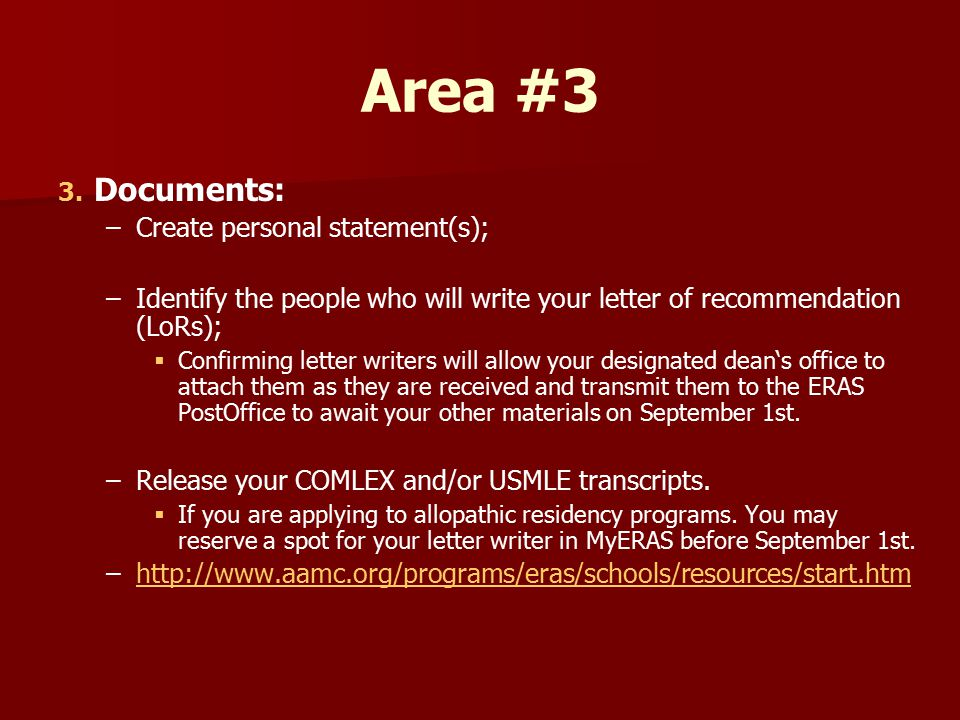aamc eras personal statement Guide for applicants completing the personal comments essay in section 8 of the aamc's american medical college application service® (amcas®) menu sign in choosing a medical career.