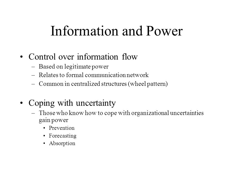 organisational control and power Understanding organisational culture   power culture - power is concentrated among a few with   control systems - the ways that the organisation is.