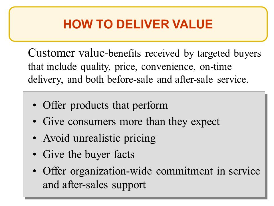 HOW TO DELIVER VALUE