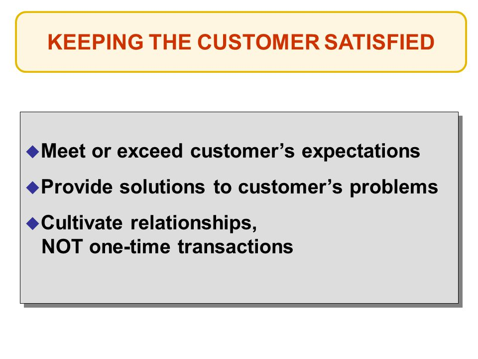 KEEPING THE CUSTOMER SATISFIED