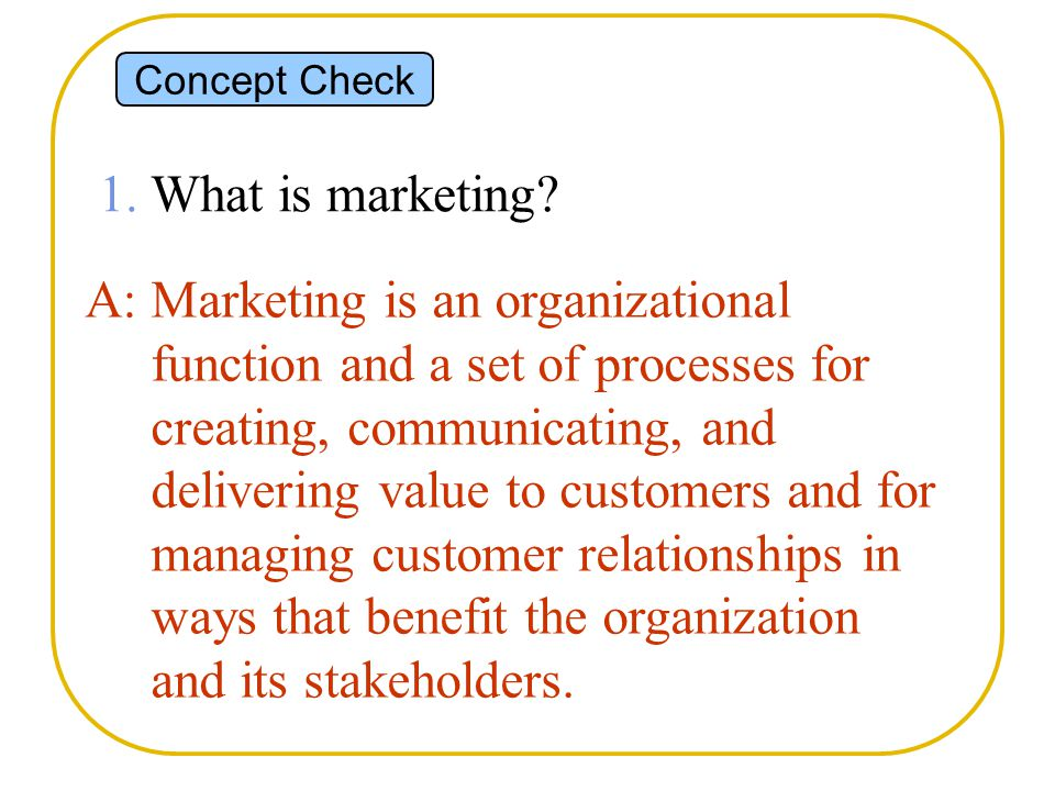 Concept Check 1. What is marketing