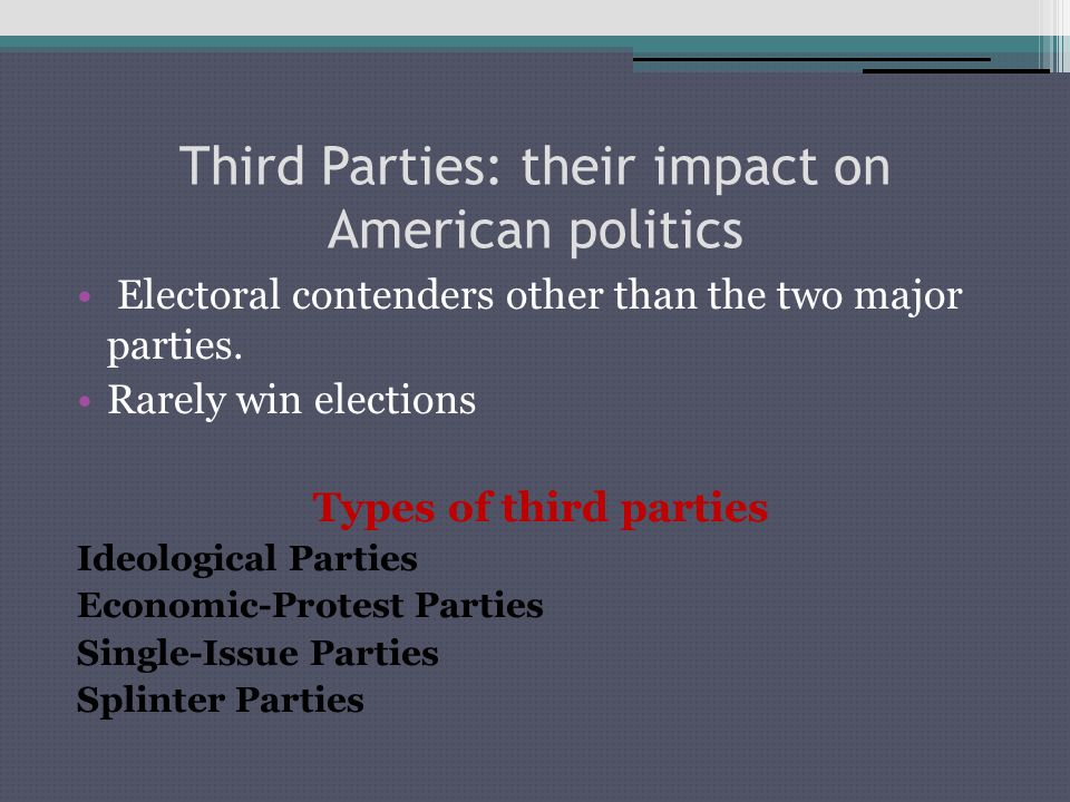 the effects of political parties on the american political system Effects of political parties free essays effects of political parties introduction since the last of the whig party left office in 1852, the american political system has been primarily a two party system the democrats and the republicans have been the two parties fighting for.