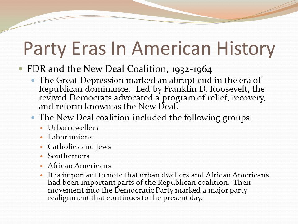 a history of the new deal in american politics The great exception: the new deal and the limits of american politics (politics  and society  where does the new deal fit in the big picture of american history.