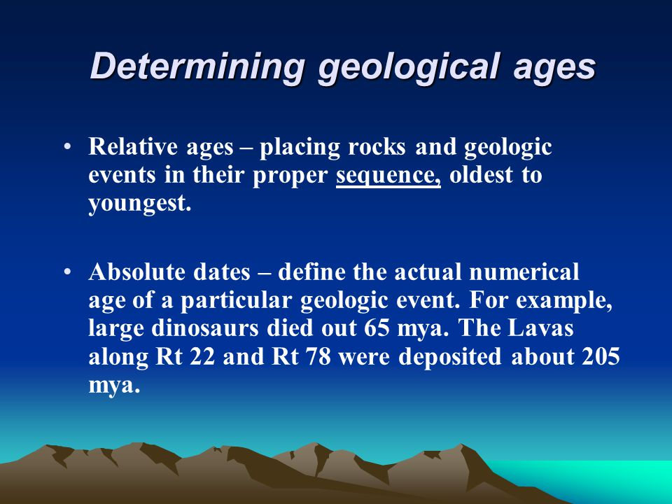 define absolute dating geology There's no absolute age-dating method relative time scale and the absolute time scale the geologic time at boundary stratotypes define the.