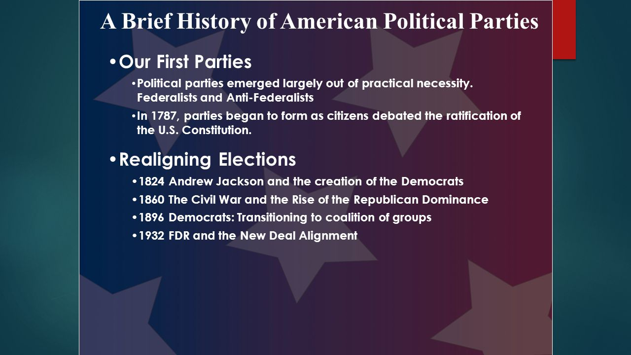 the history of the political parties in the united states An official website of the united states government us flag signifying that this is a united  news and announcements commission meetings mission and history  forming a new national or state political party organization: new party  if a party organization will be active only in state or local elections, it doesn't need to.