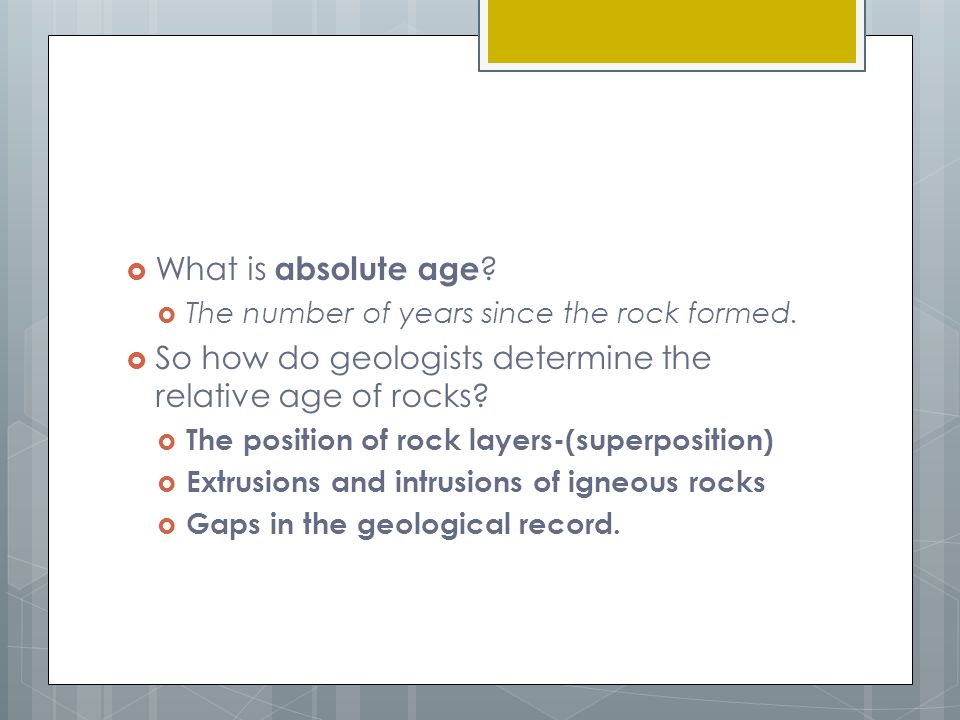 What does relative hookup tell geologists