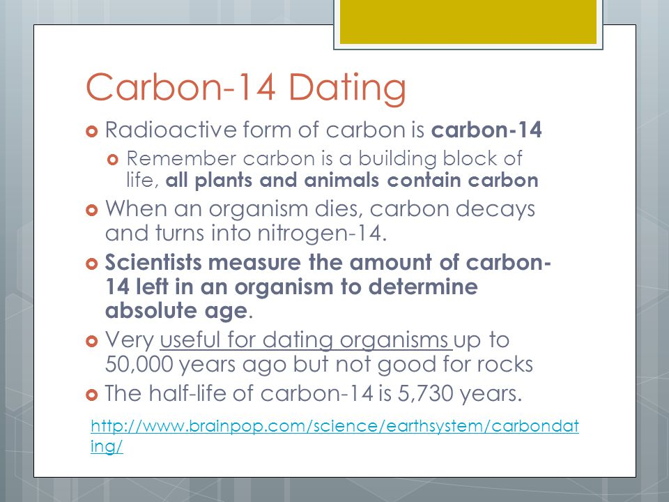 carbon-14 is not useful for dating fossils because quizlet