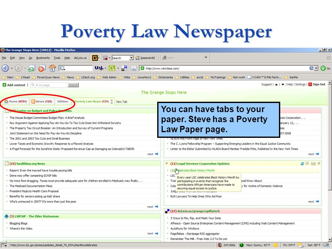Poverty Law Newspaper You can have tabs to your paper. Steve has a Poverty Law Paper page.