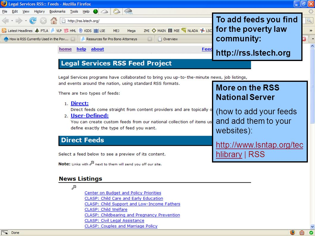 To add feeds you find for the poverty law community: