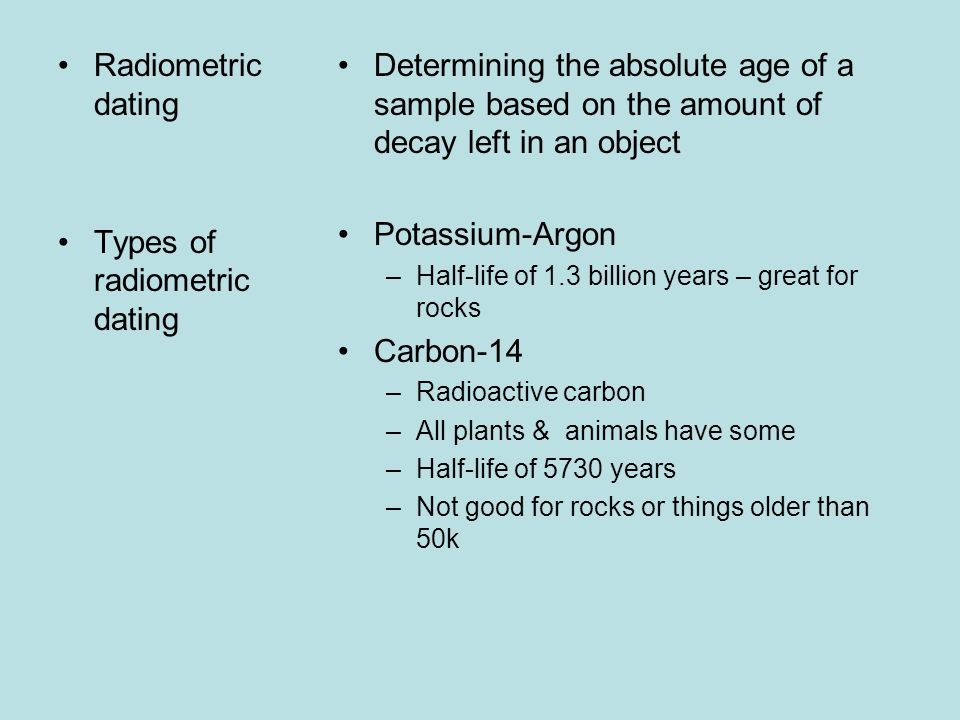 All types of radiometric dating