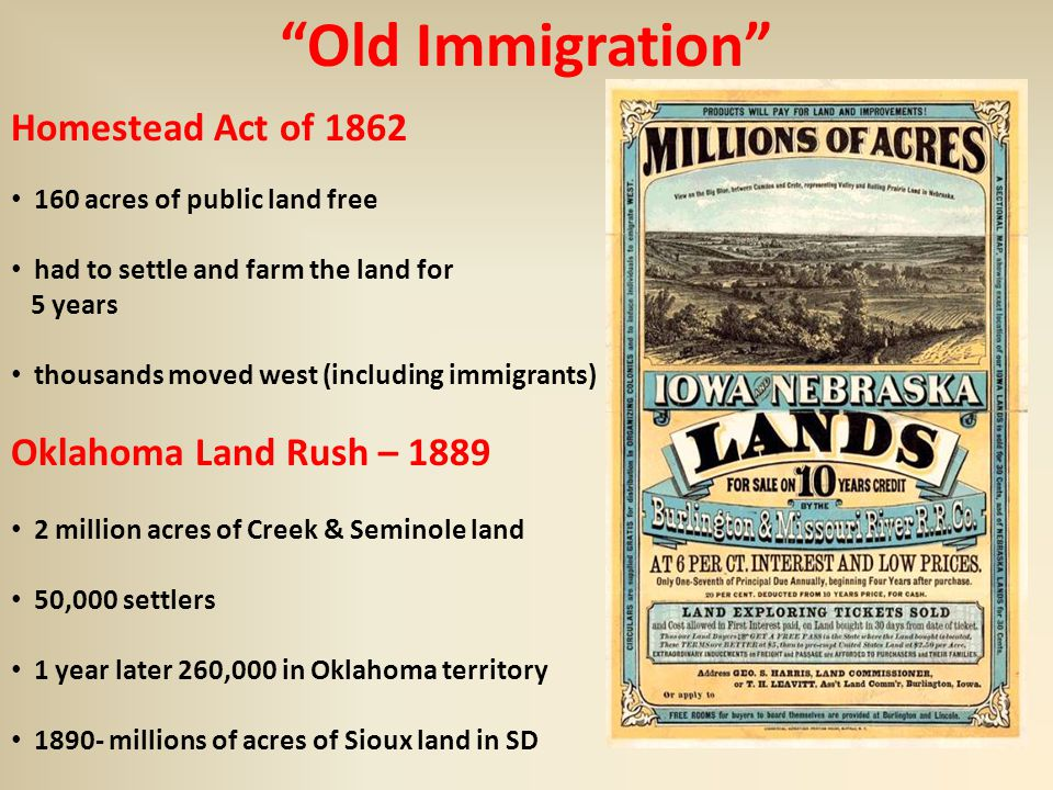 The rising tide of immigration ppt video online download for Is there still a homestead act
