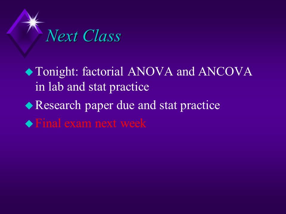 ancova factorial anova Performing an analysis of covariance (ancova)  note: it is sometimes quicker  to use the factorial command to build a model and then remove any.