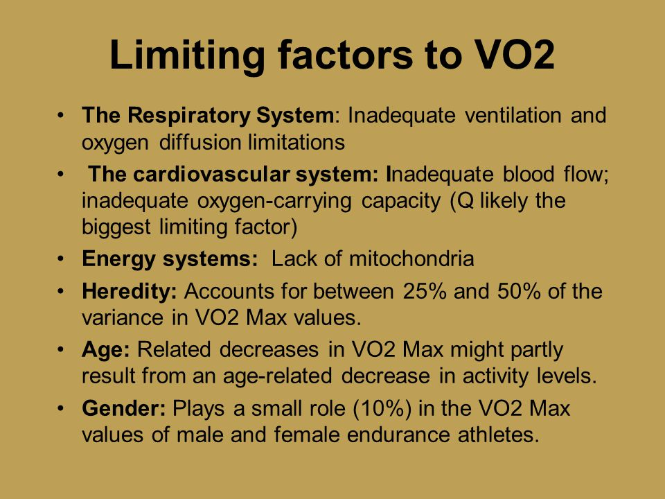 limitations of vo2max Lactate threshold below are four cyclists with different threshold values what could cause the differences the highest threshold is 406 w and this cyclist has the.