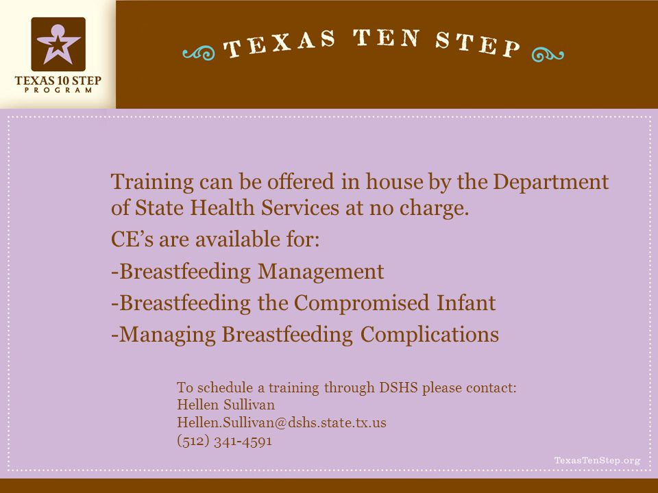 CE's are available for: -Breastfeeding Management
