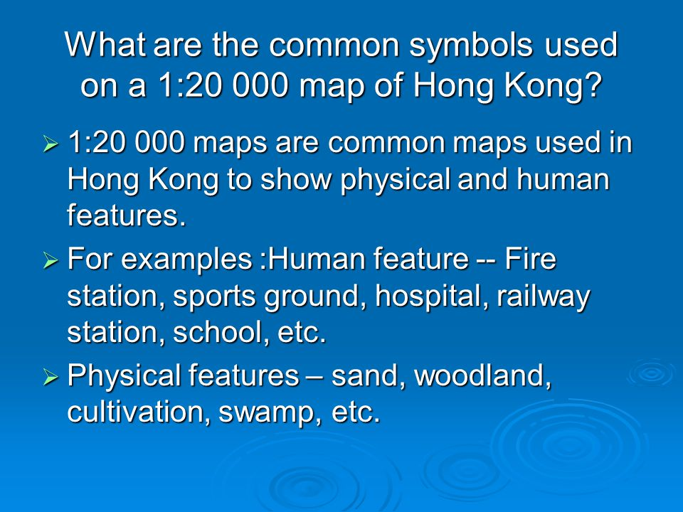 What are the common symbols used on a 1:20 000 map of Hong Kong