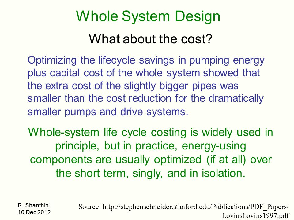 Whole System Design What about the cost