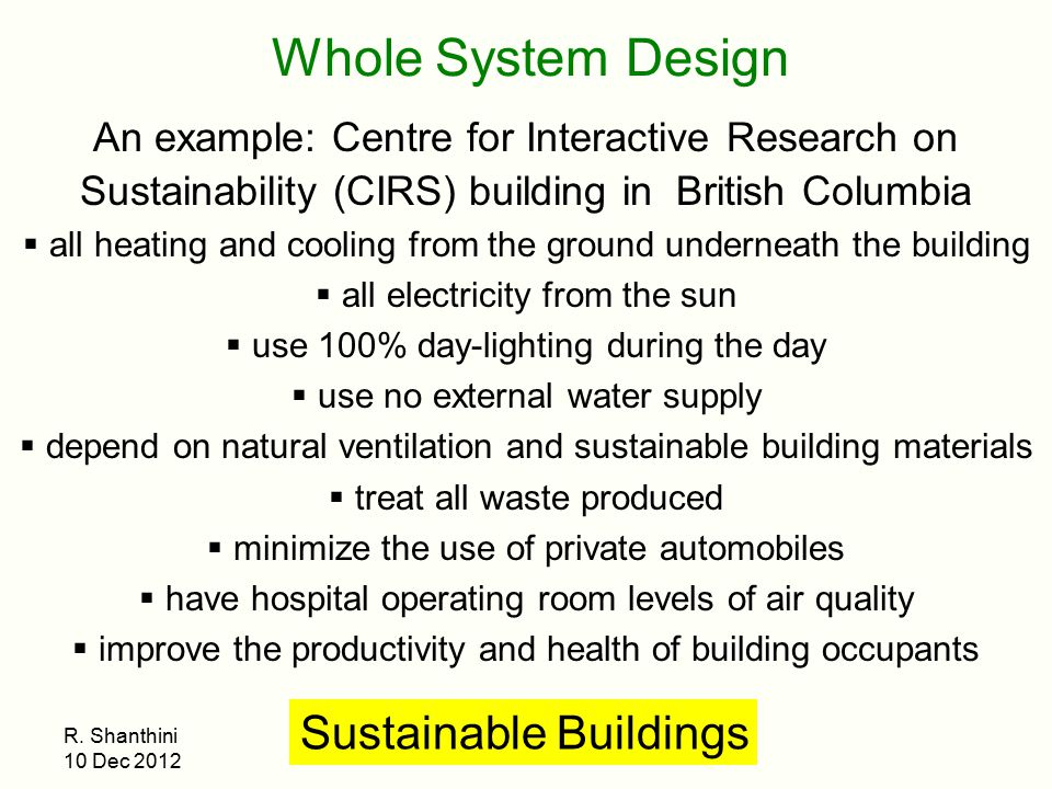 Whole System Design Sustainable Buildings