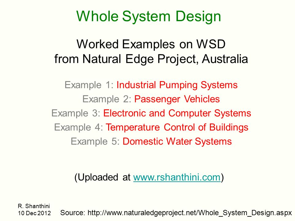 Whole System Design Worked Examples on WSD