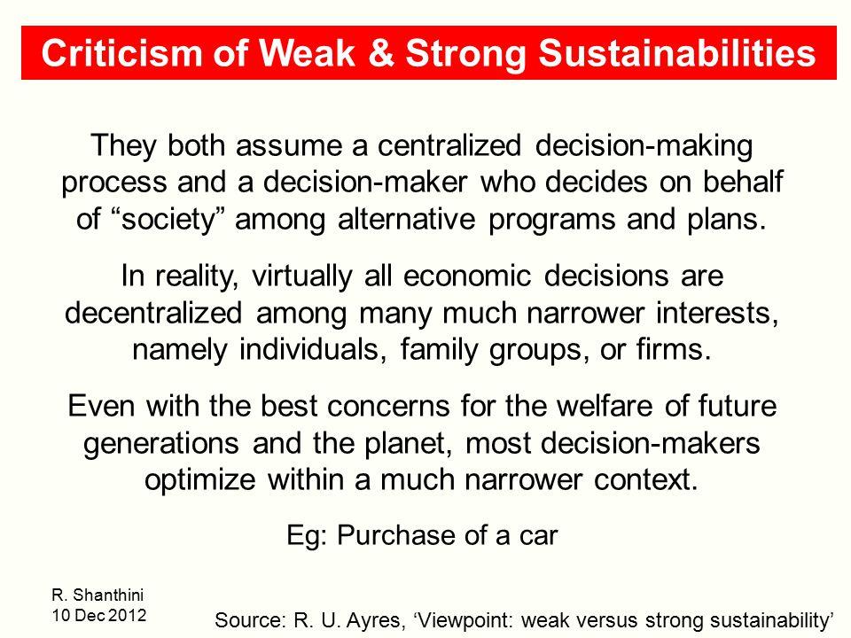 Criticism of Weak & Strong Sustainabilities