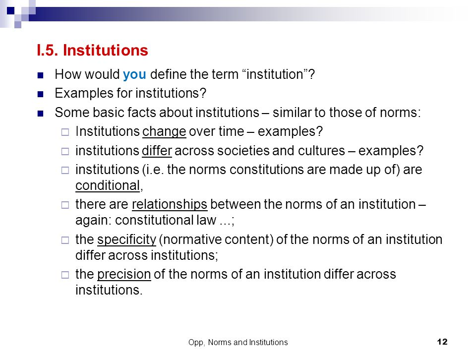 Opp, Norms and Institutions
