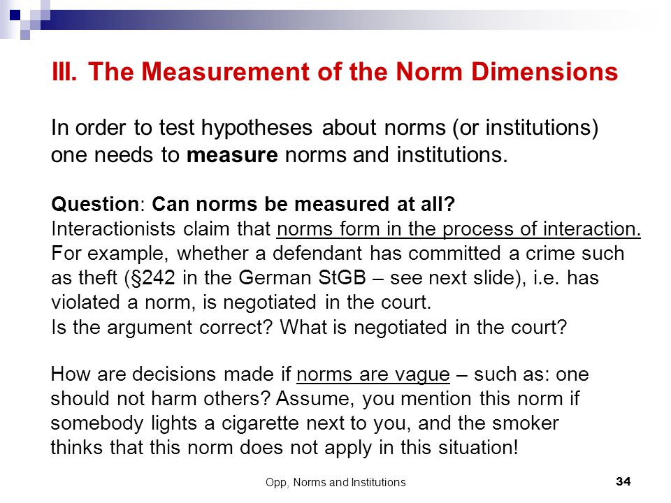 III. The Measurement of the Norm Dimensions