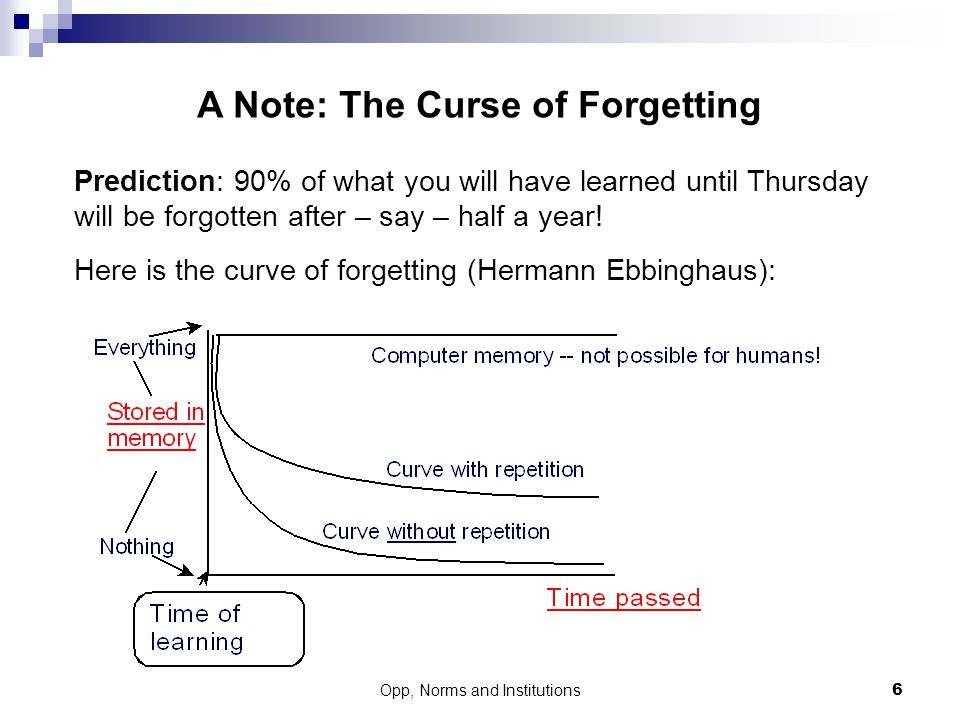 A Note: The Curse of Forgetting