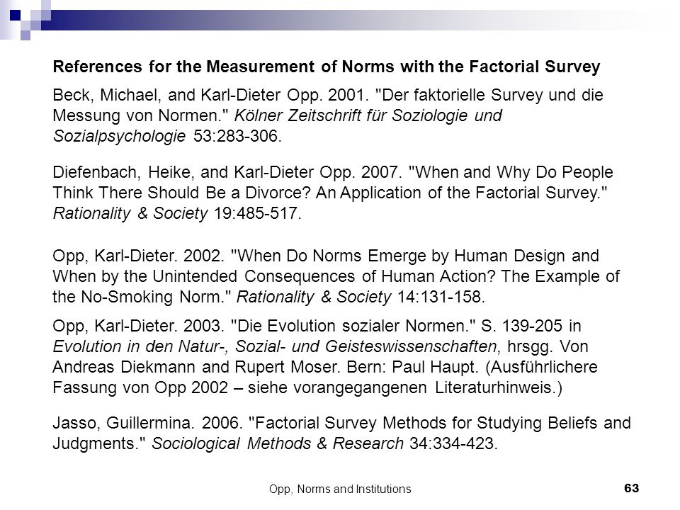 References for the Measurement of Norms with the Factorial Survey