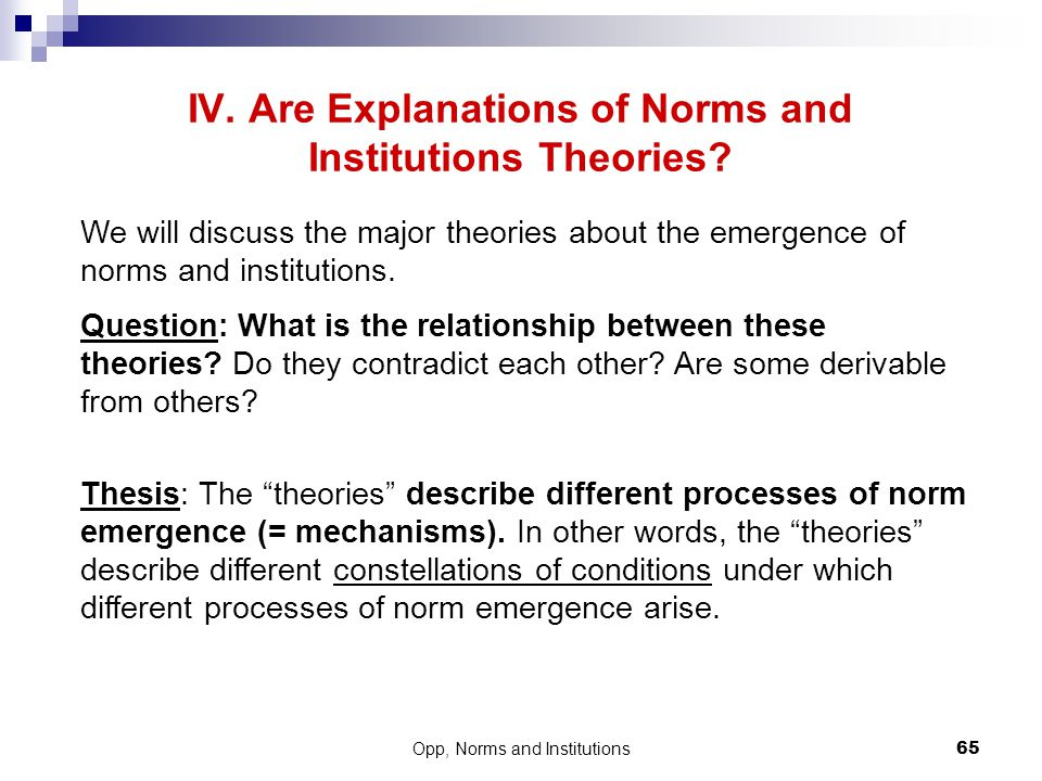 IV. Are Explanations of Norms and Institutions Theories