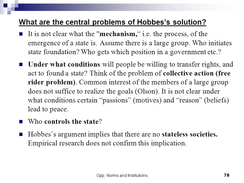 What are the central problems of Hobbes's solution