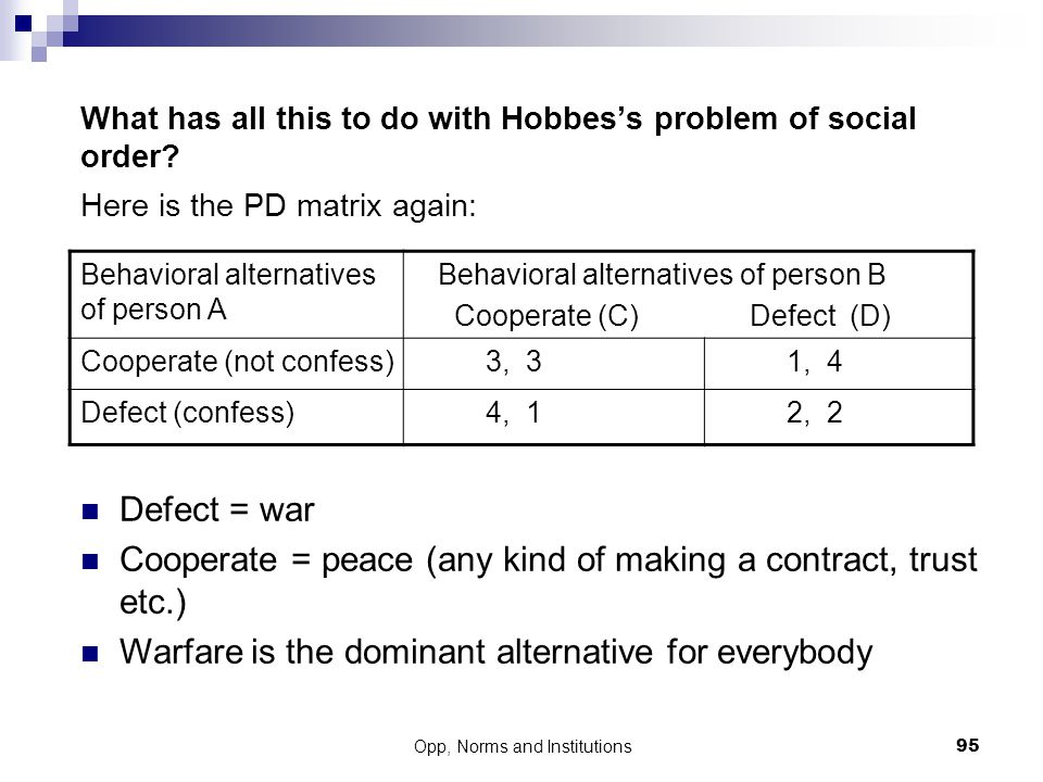 What has all this to do with Hobbes's problem of social order