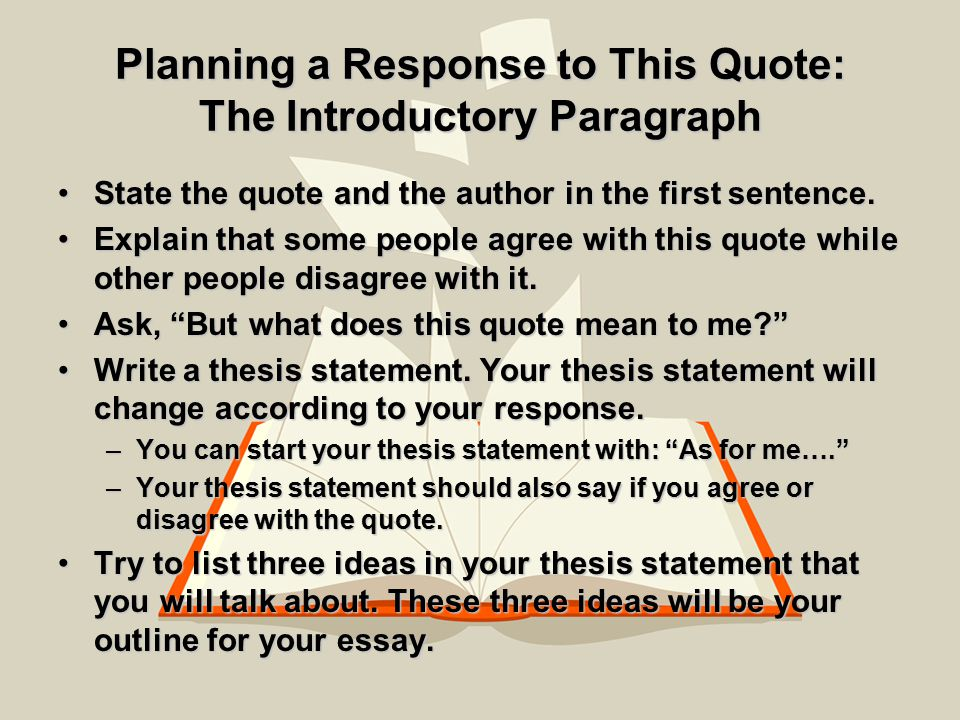 can you start a thesis statement with a quote