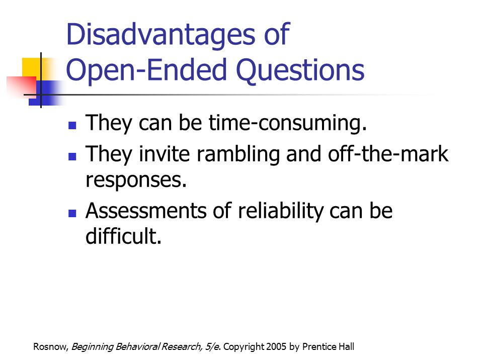advantages and disadvantages of open ended questions pdf