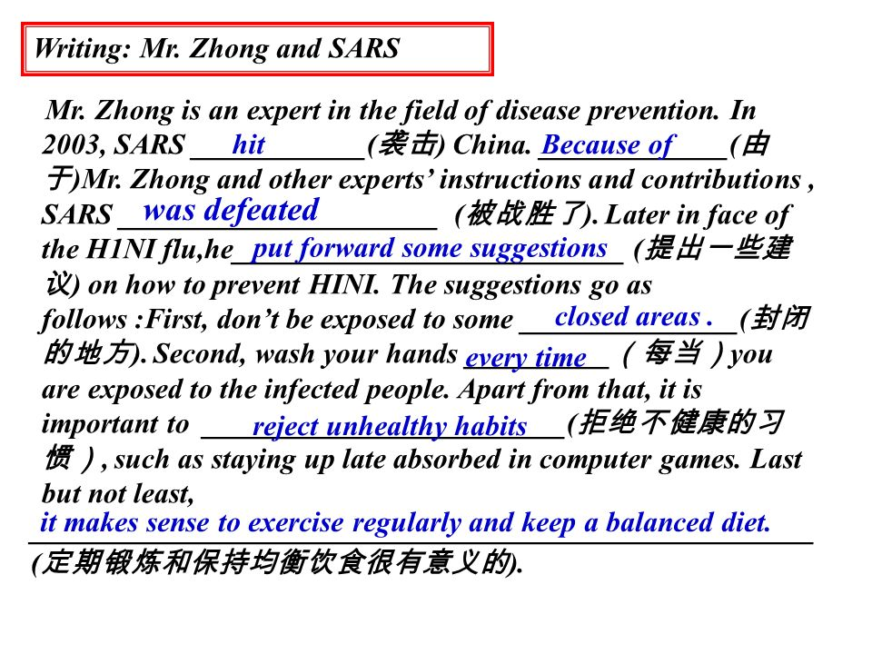 was defeated Writing: Mr. Zhong and SARS