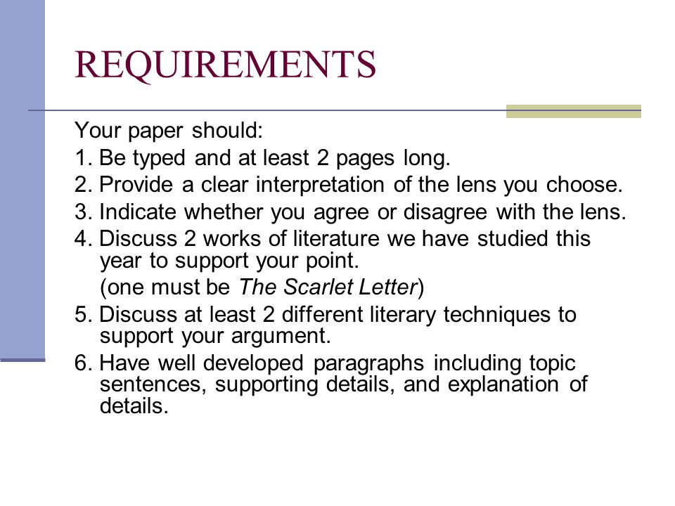 critical lens essays the scarlet letter ppt video online  4 requirements