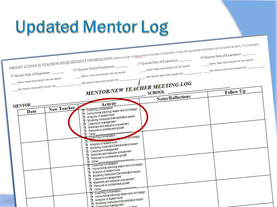 Updated Mentor Log