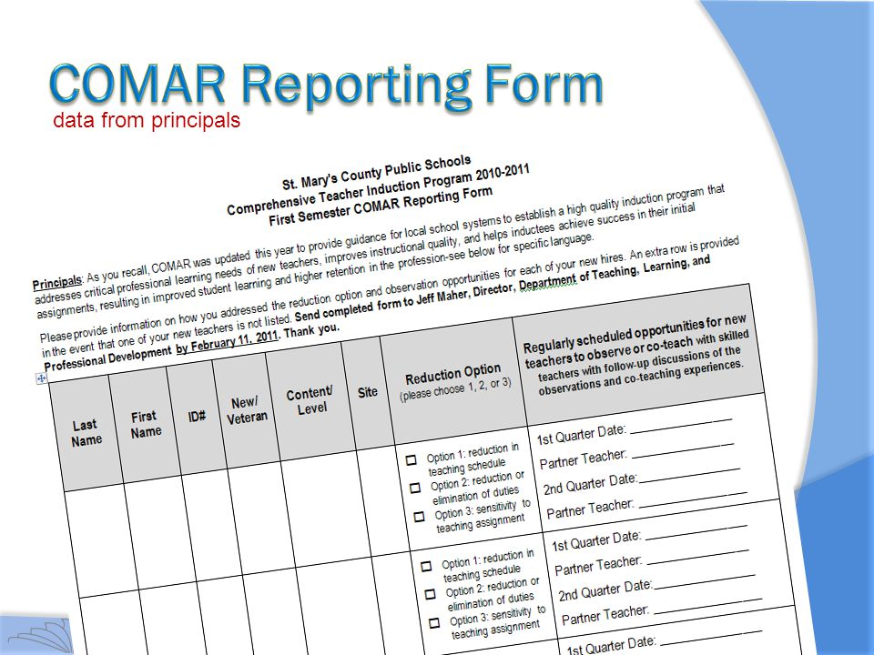 COMAR Reporting Form data from principals