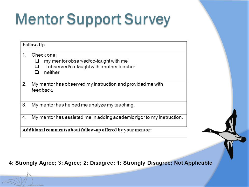 Mentor Support Survey Follow-Up. Check one: my mentor observed/co-taught with me. I observed/co-taught with another teacher.